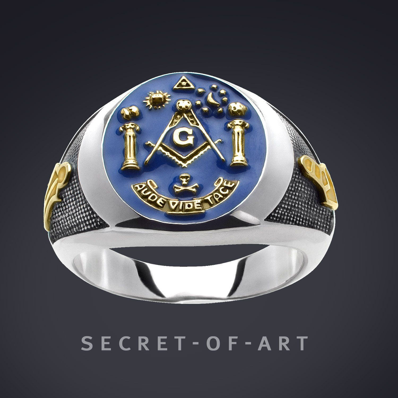 Masonic Ring Freemason Aude Vide Silver 925 Sterling with