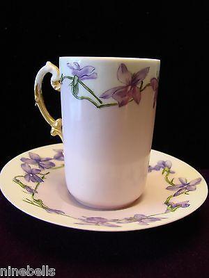 Antique Limoges? Demitasse Cup &Saucer, Hand Painted Violets on Lavender