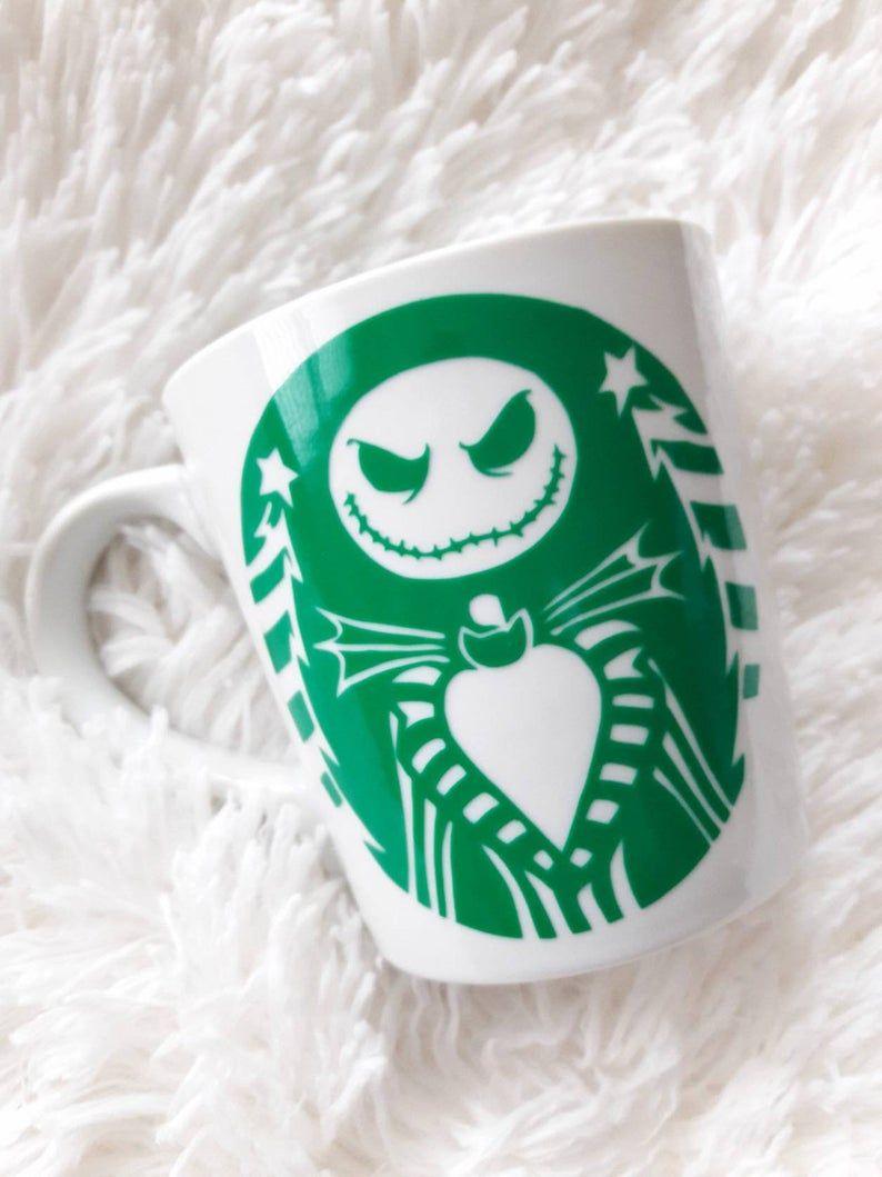 Starbucks Mug. Disney Starbucks. Disney Cup. Custom Cups. Disney Gifts. Nightmare Before Christmas. Jack Skellington Mug #disneycups