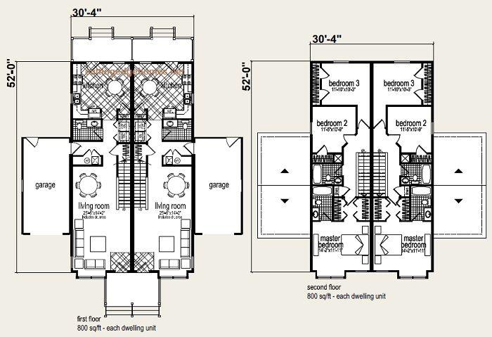 Coolidge Duplex Floor Plan And Elevation 1 Modular Home Plans