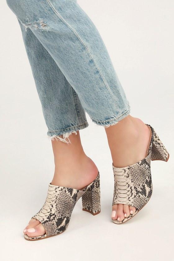 65fb2fac836 Lulus | Esmeralda Natural Snake Peep-Toe Mules | Size 10 | Beige ...