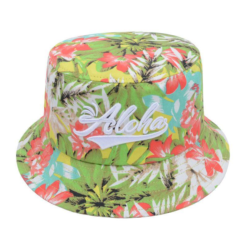 b04f9a187c4 100% Cotton Aloha Bucket Hat Hawaiian Tropical Florals Fishing Outdoor Sun  Cap  Goldtop  Bucket