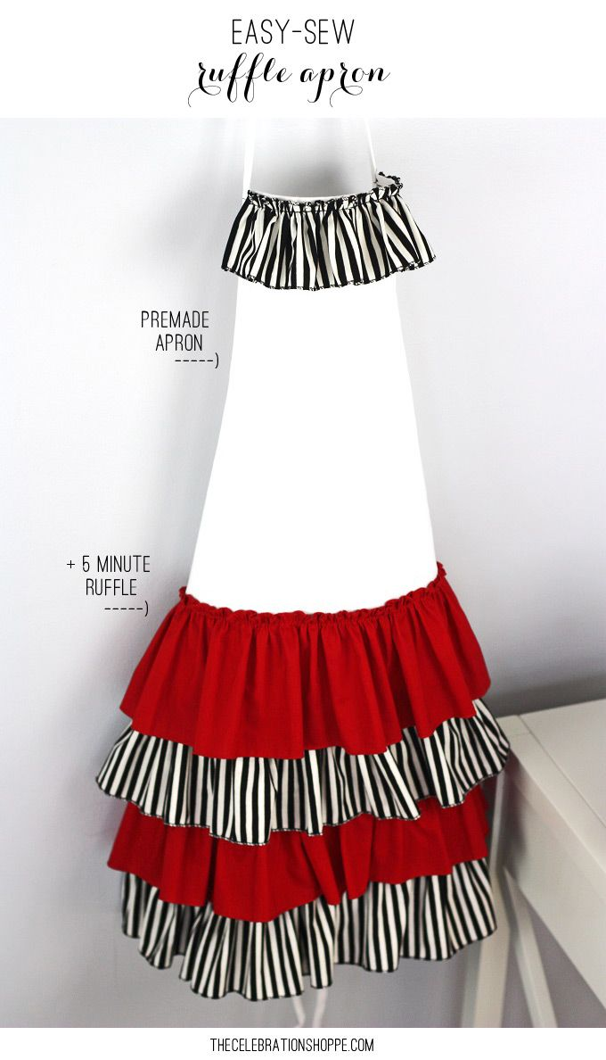 How to DIY an Easy Sew Ruffle Apron | costura | Pinterest | Auxiliar ...