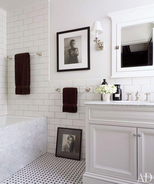 Classic White U0026 Black Bathroom Design With Basketweave Tiles Via  Architectural Digest.