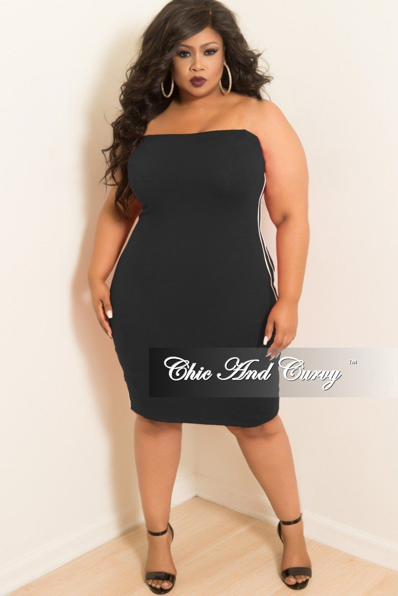 6ecdd59a4a4 Plus Size Tube Dress with White Trim in Black – Chic And Curvy   plussizemodel
