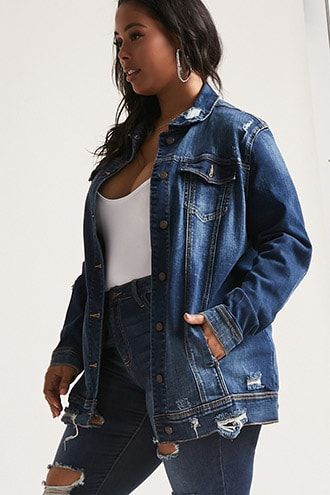 9b9686c181a7 Plus Size Distressed Denim Jacket | Products | Jean jacket outfits ...