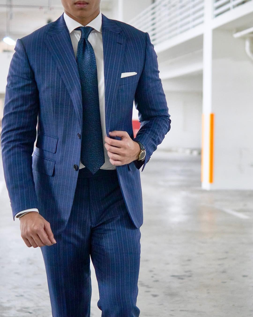 Blue Pinstripe Suit for Men. gq menswear   Mens blue pinstripe ...