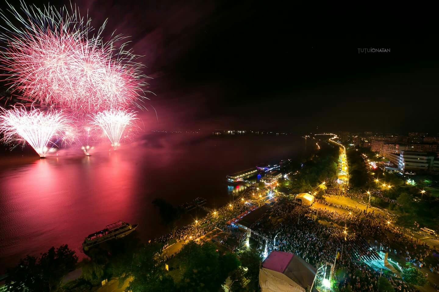 Incredible view over the city, fireworks