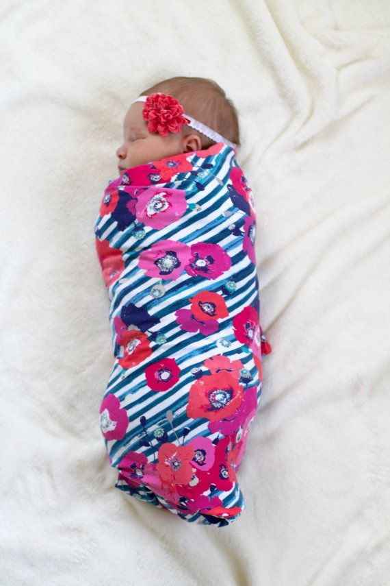 Floral Swaddle Blanket Navy Blue Pink And By
