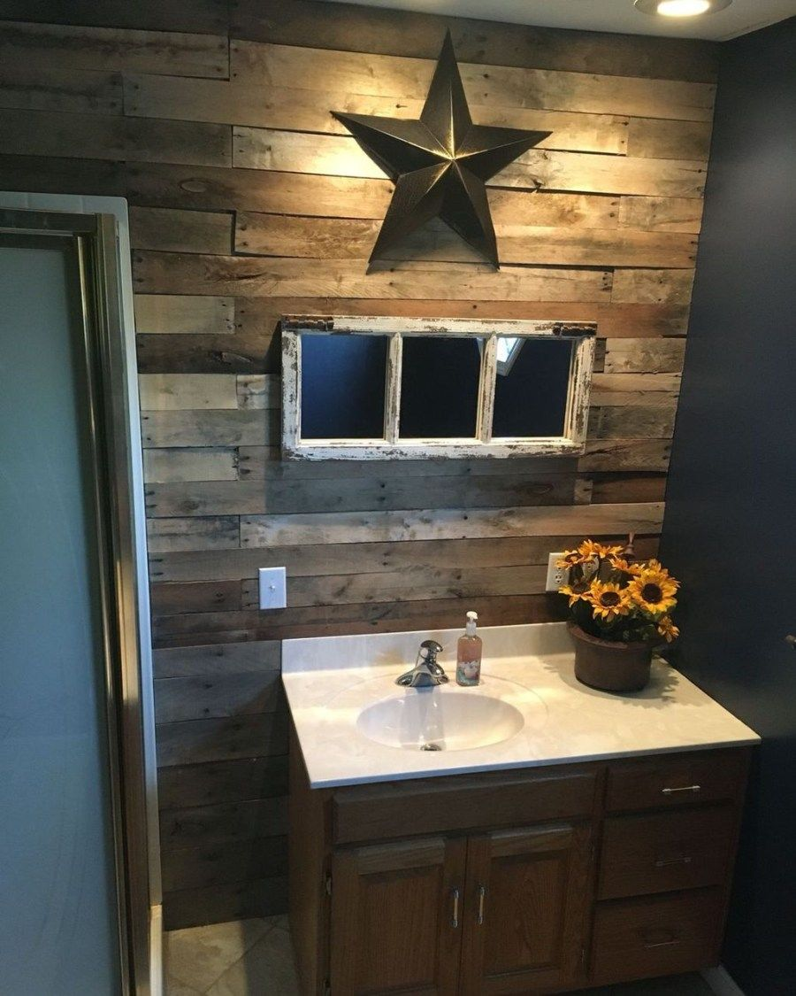 44 The Best Rustic Small Bathroom Ideas With Wooden Decor Trendehouse Rustic Bathrooms Country Decor Rustic Rustic Bathroom Barn star bathroom decor