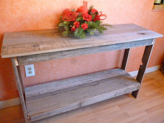 Distressed Wood Sofa Table Repurposed Wood By FurnitureWhisperer, $240.00