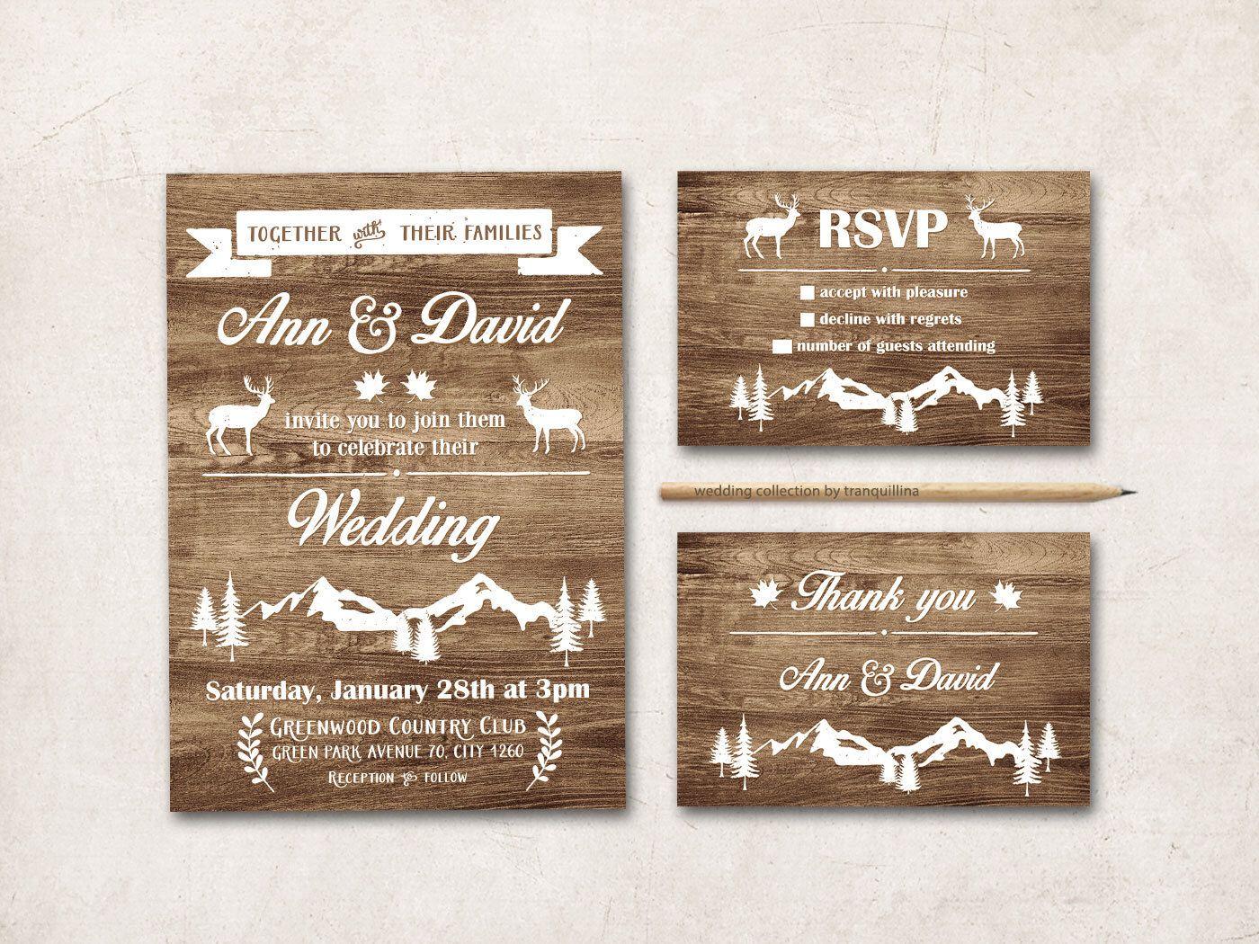 Rustic Wedding Invitations Nz: Rustic Wedding Invitation Printable, Fall Winter Wedding