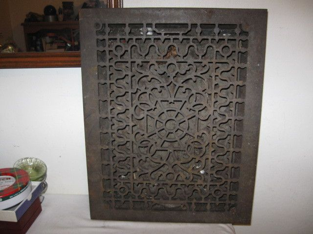 Antique Ornate Cast Iron Heating 18 X 14 Heating Floor Register Vent W Louvers Architecture Details Vent Covers Repurposed