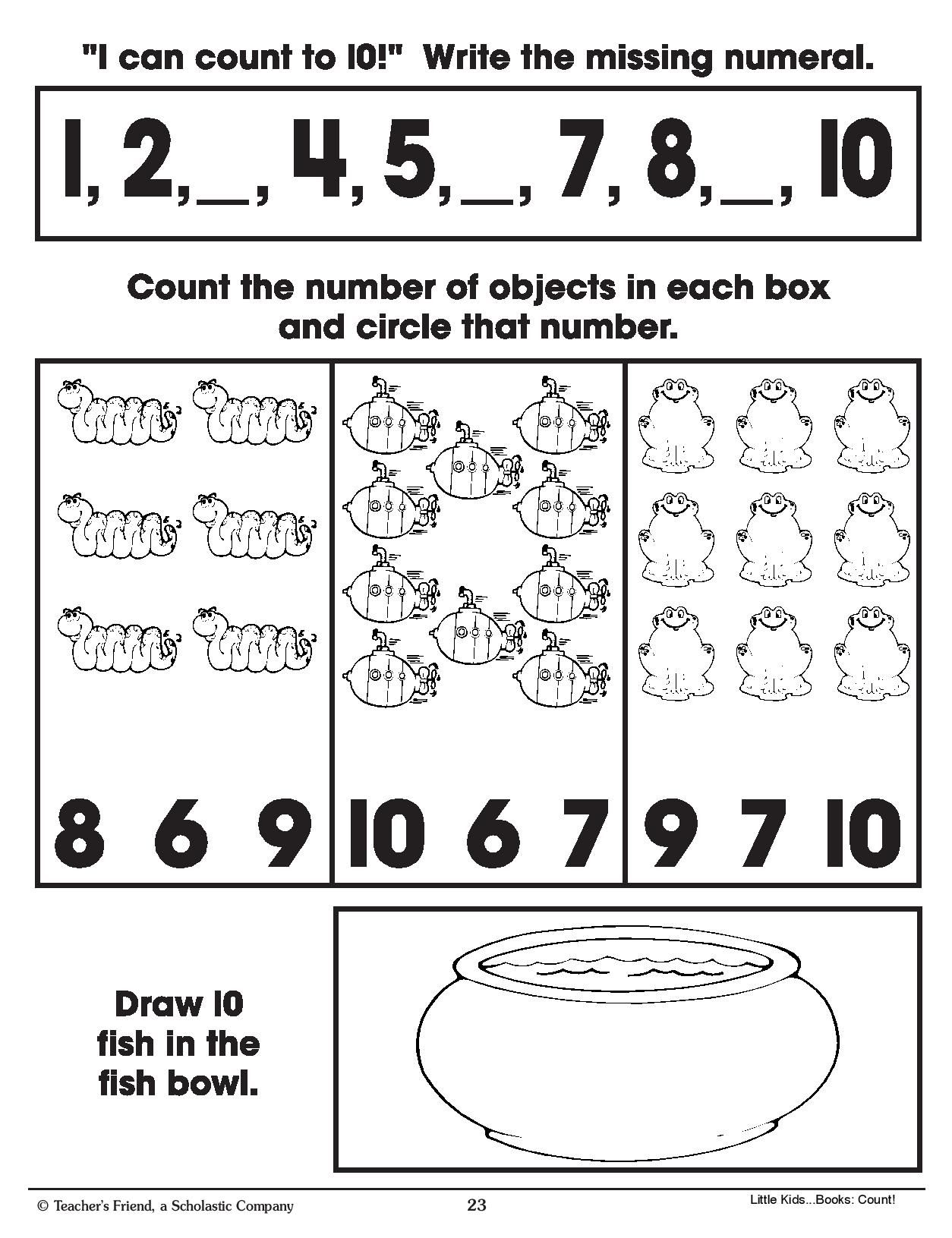 Counting One To Ten Math Practice Page For Ages 3 6