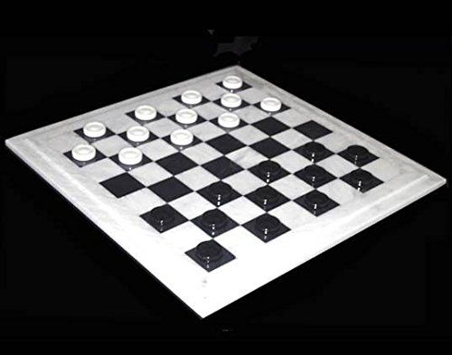 Quality Marble and Alabaster Stone Checkers Game Set Large ...