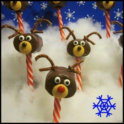 Reindeer Marshmallow Pops - take out pretzels and find something to use for floppy ears to make into a dog