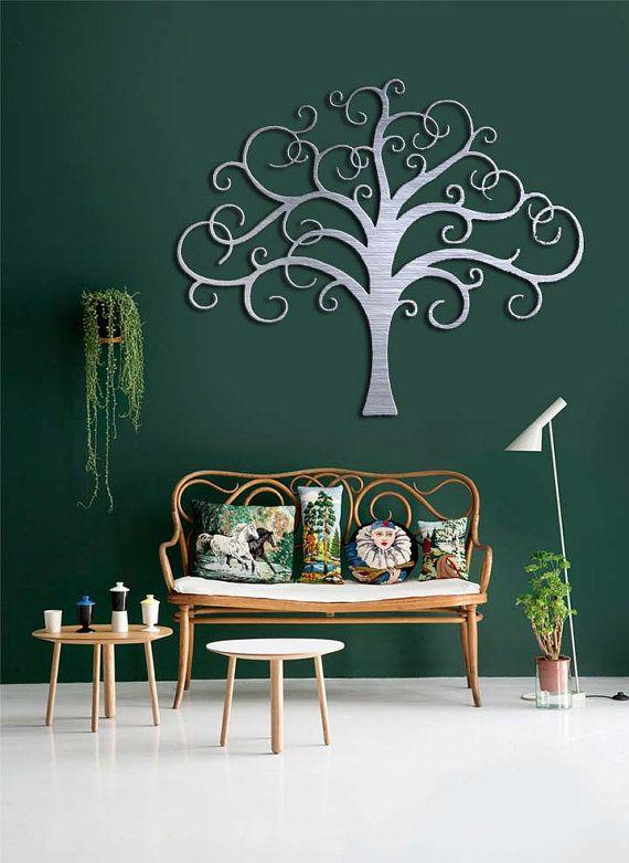 Giant Tree Metal Wall Art Abstract Wall Decor by INSPIREMEtals - wandfarben wohnzimmer grun
