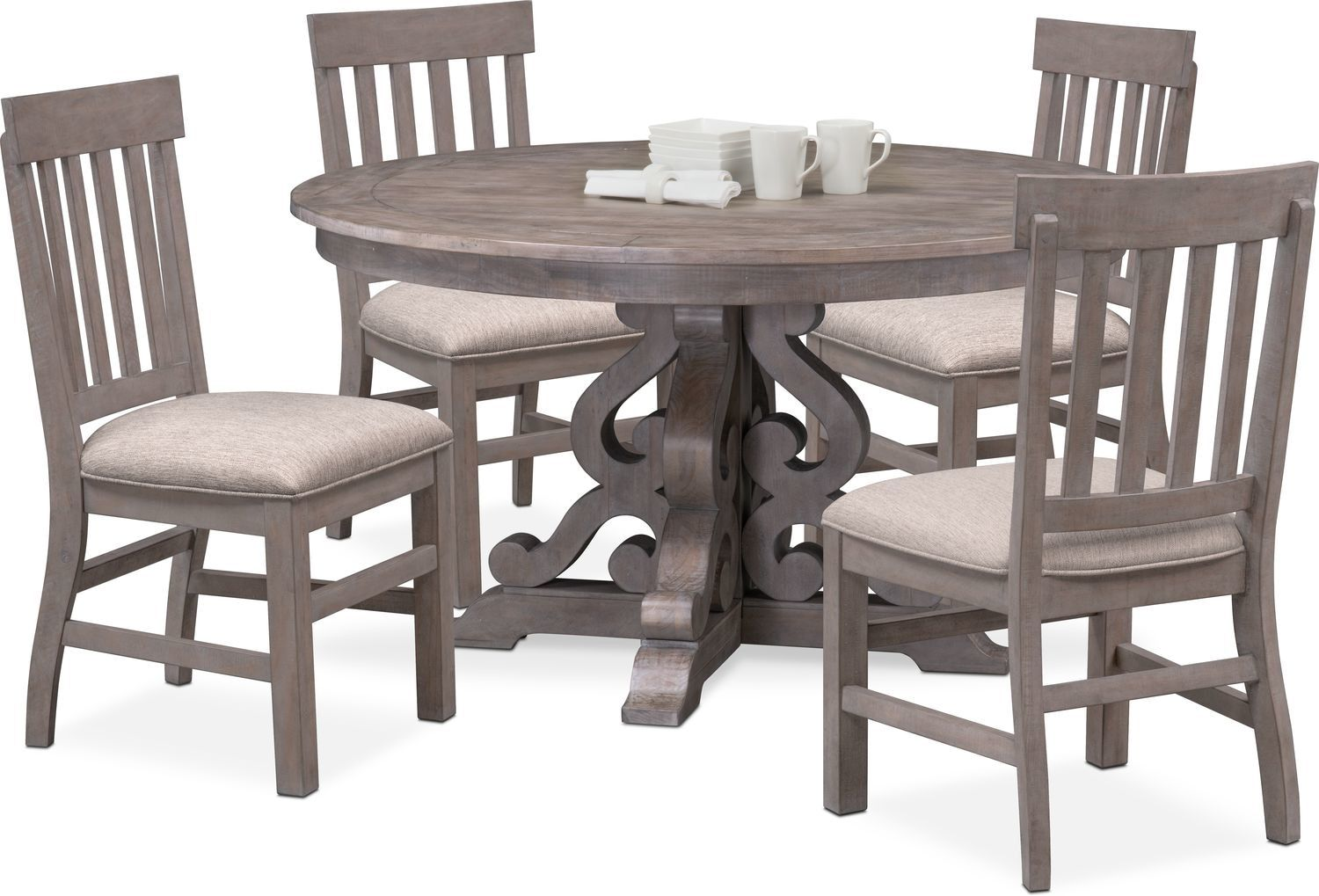 Charthouse Round Dining Table And 4 Side Chairs In 2020 Round Dining Room Table Round Dining Room Sets Round Dining Room