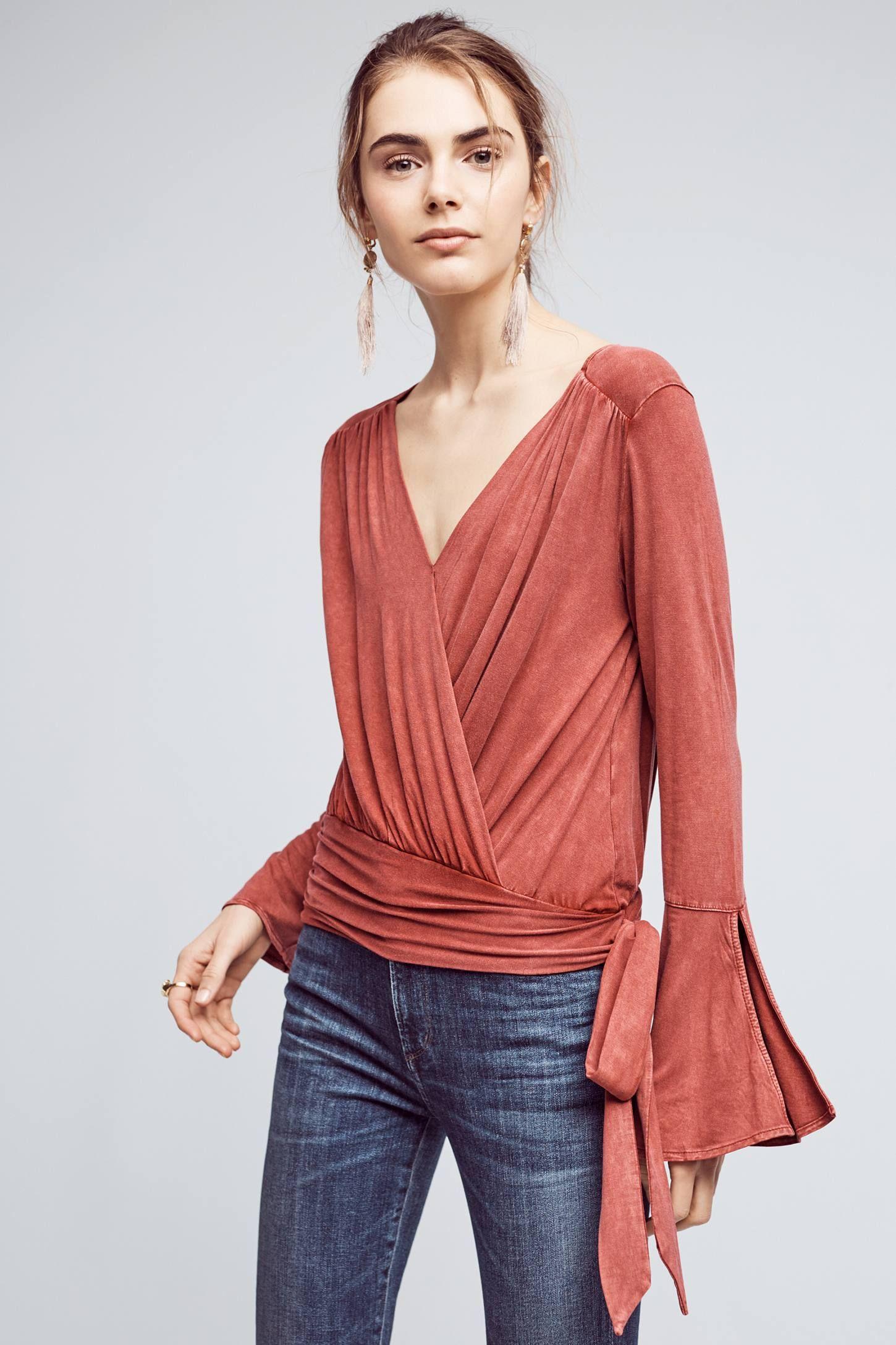 Sirpo Wrapped Pullover | Blusas, Blusas de manga larga y Blusas de manga