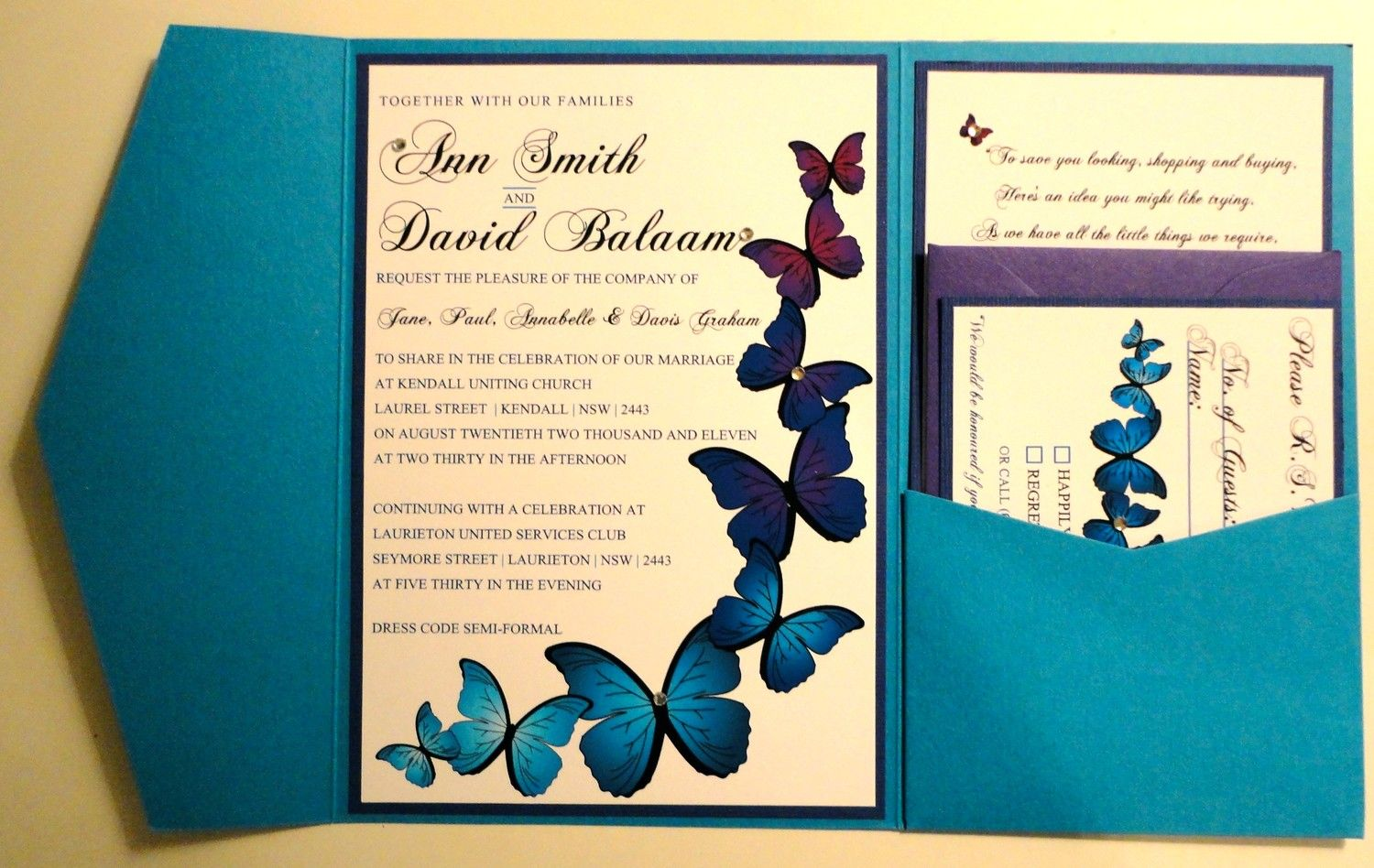 Invite set-up blue butterfly invitations | Wedding | Pinterest ...