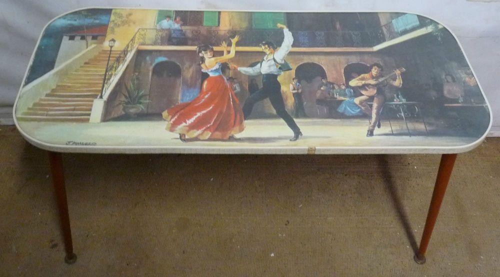 retro coffee table - spanish dancers - dansette legs - vintage