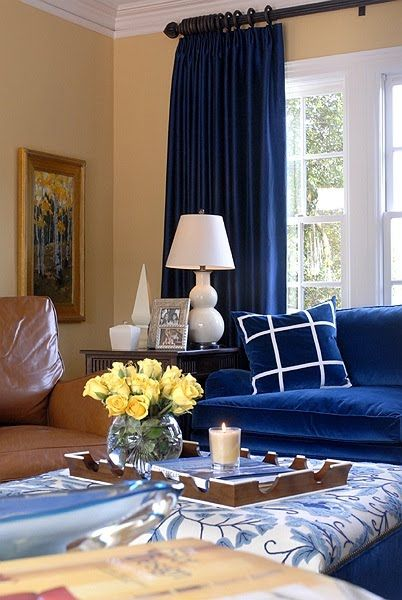 Reviving Tradition Blue Curtains Living Room Blue Rooms
