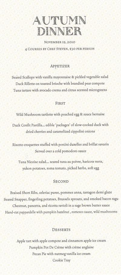 autumn dinner menu