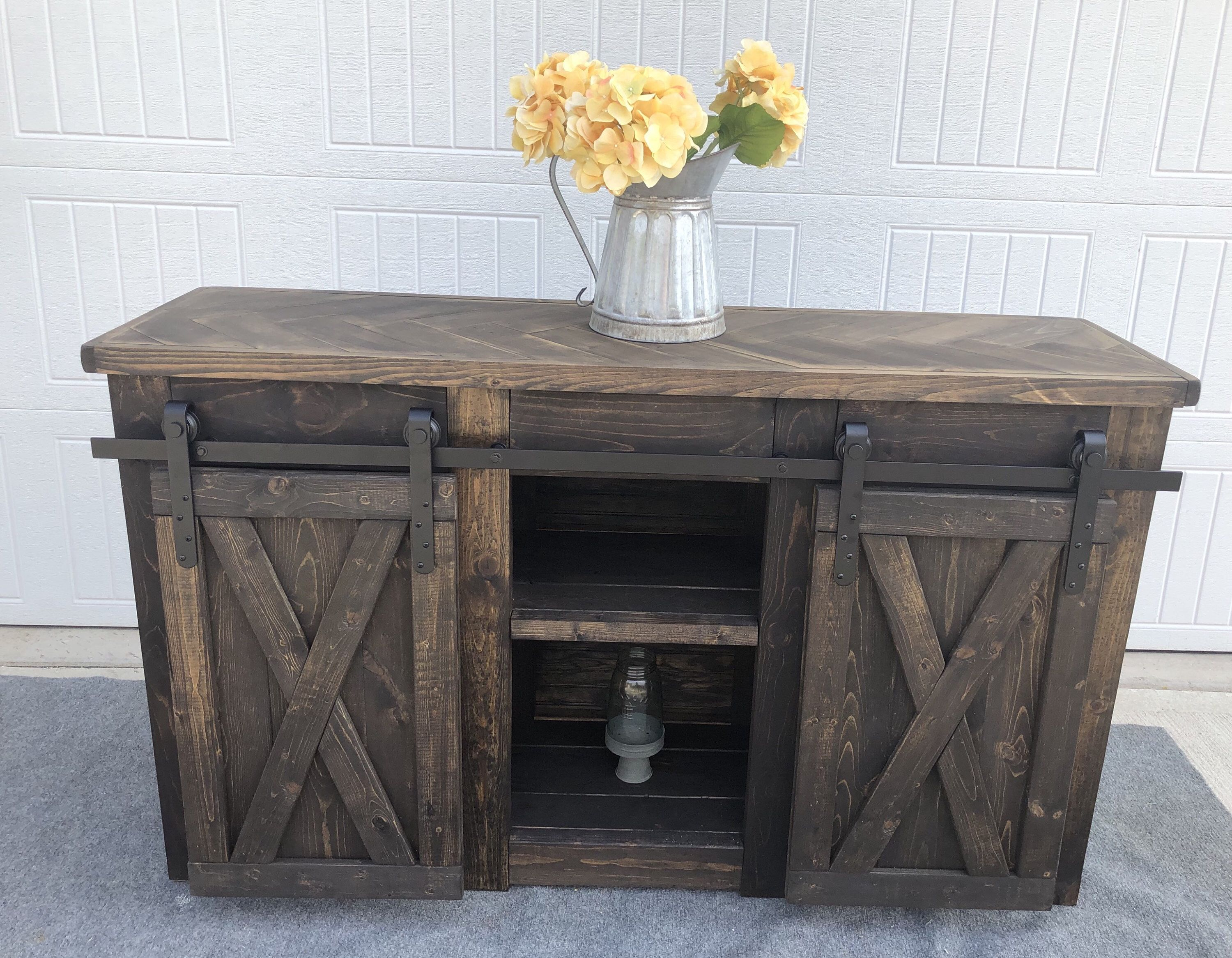 Rustic Media Center five foot farmhouse style with