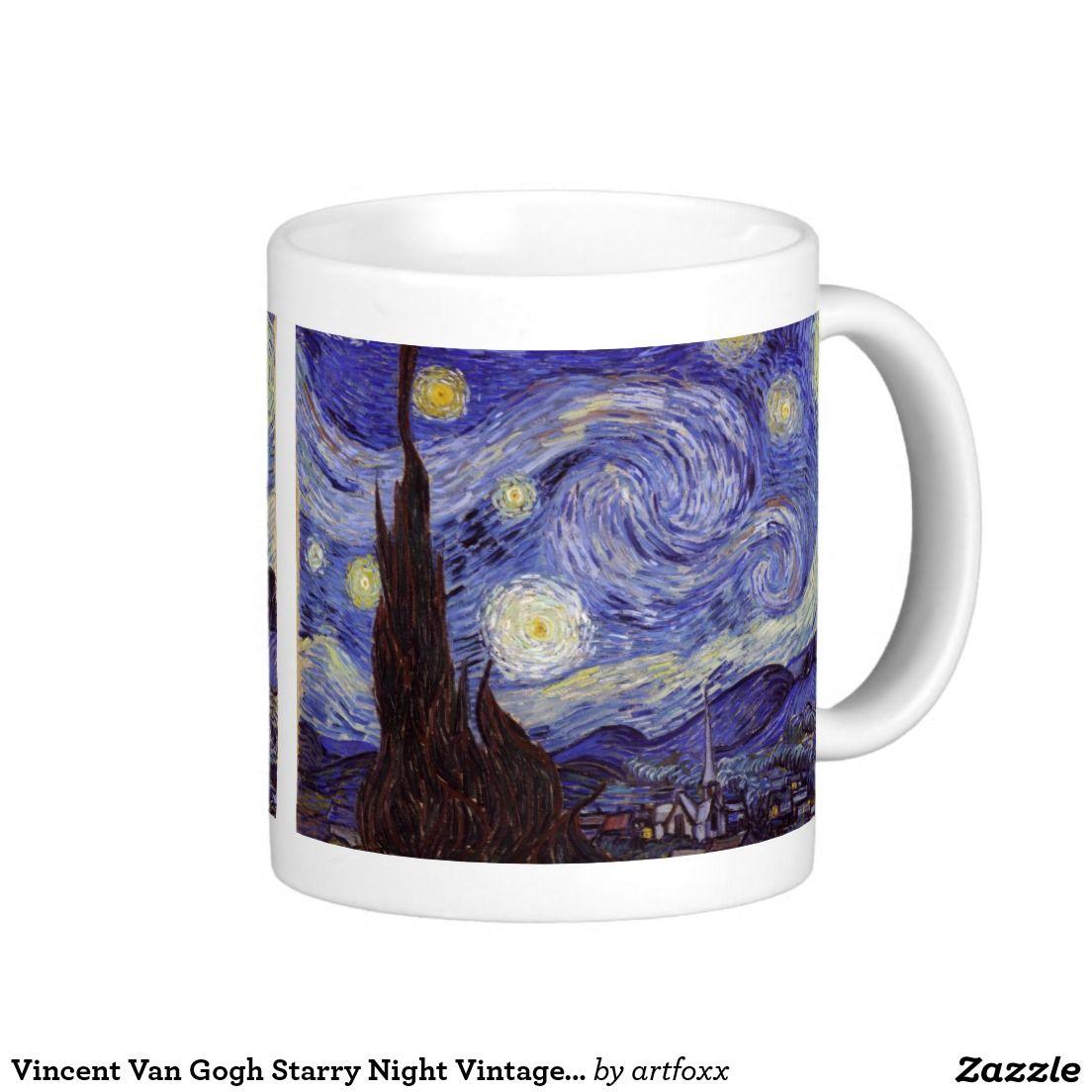 Vincent Van Gogh Starry Night Vintage Fine Art Coffee Mug Zazzle Com Starry Night Van Gogh Van Gogh Vincent Van Gogh