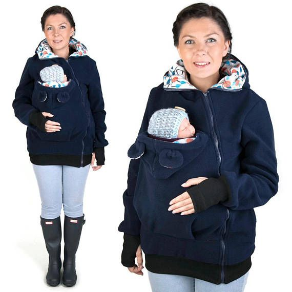 LITTLE BEAR Baby carrier babycarrying jacket hoodie Kangaroo coat for Mom, baby wearing hoodie NP02/A Navy/Flower valentines day gift