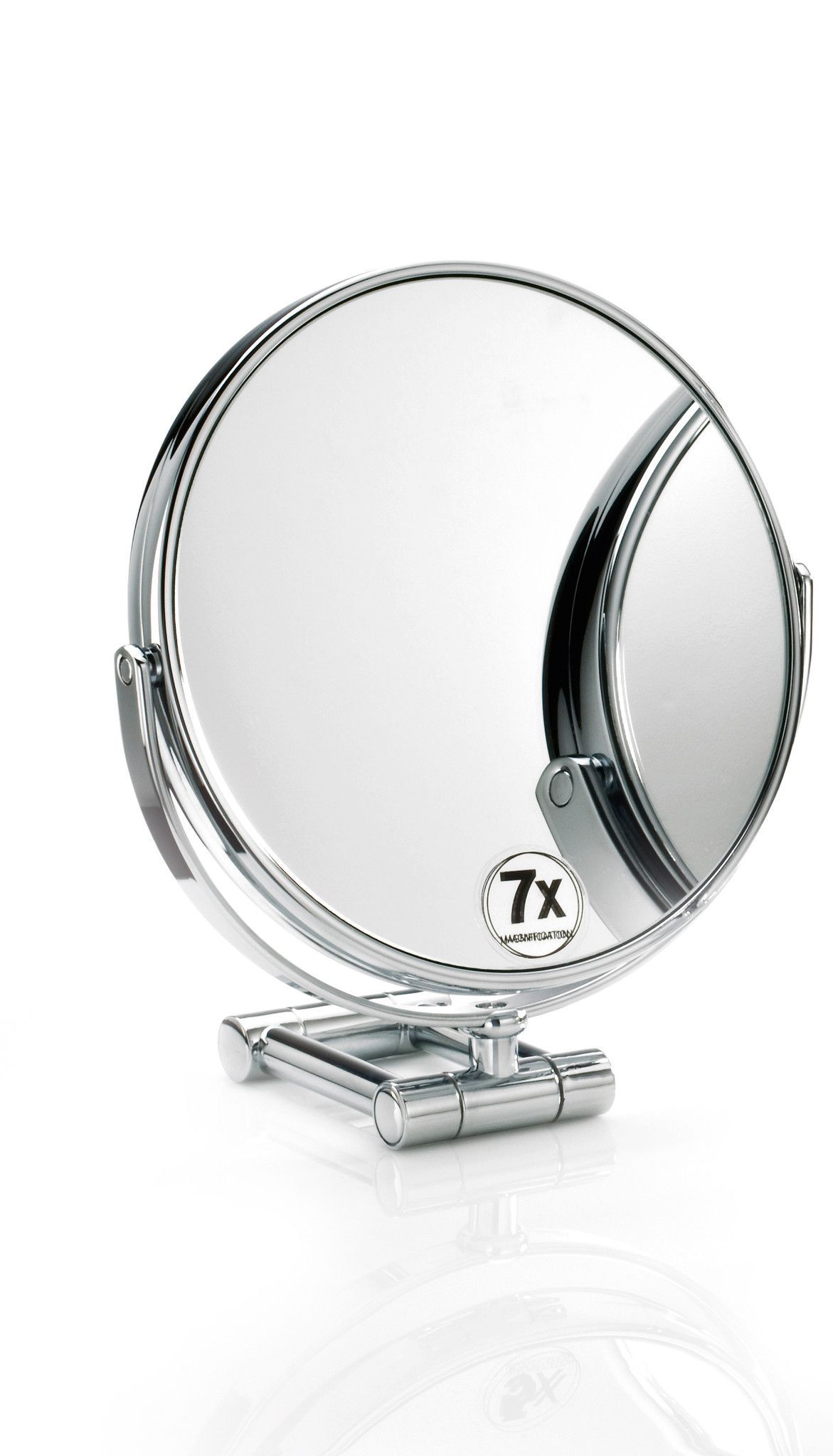 Walther Round Cosmetic Table Makeup ADJ Magnifying Mirror. Chrome