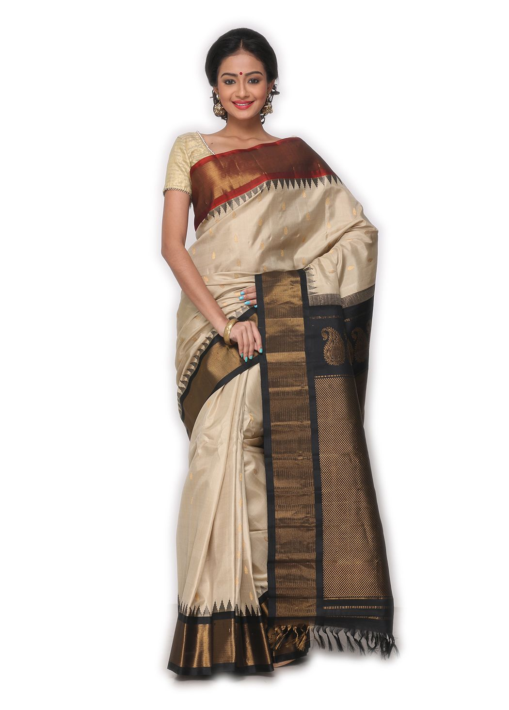 bc37e72a83 BUY SAREE ONLINE - BLACK GADWAL SAREE WITH BLOUSE | INDIAN SILK HOUSE  AGENCIES