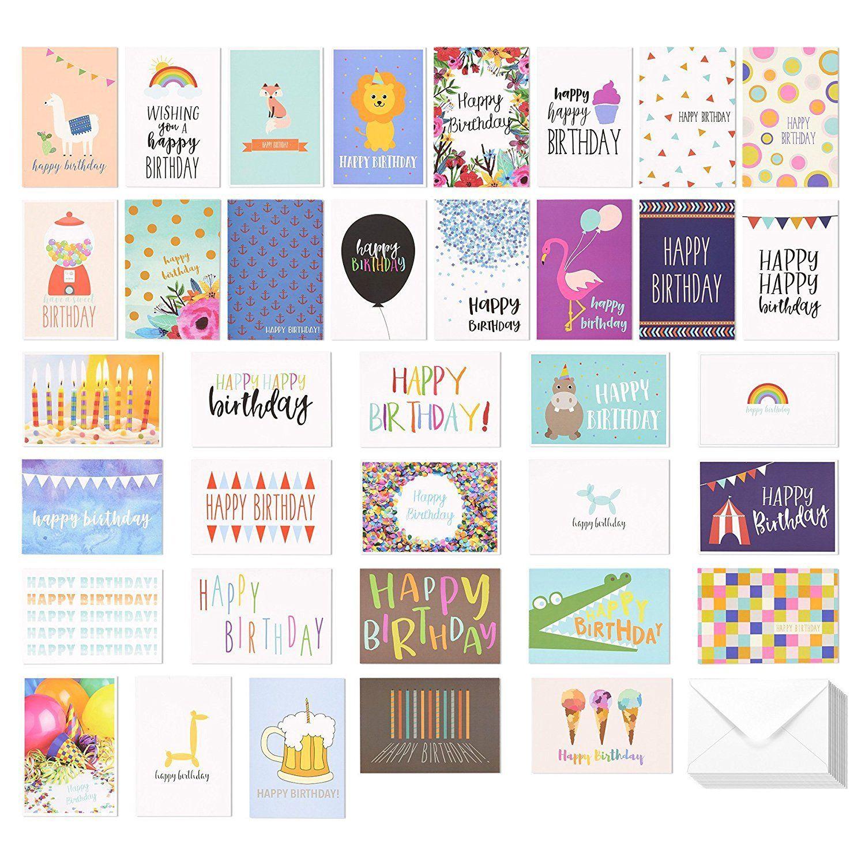 Amazon Com 36 Pack Assorted Happy Birthday Greeting Cards 36 Unique Designs Happ Birthday Greeting Cards Happy Birthday Greeting Card Happy Birthday Cards