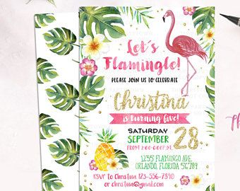 flamingo invitation pineapple birthday party invitation tropical