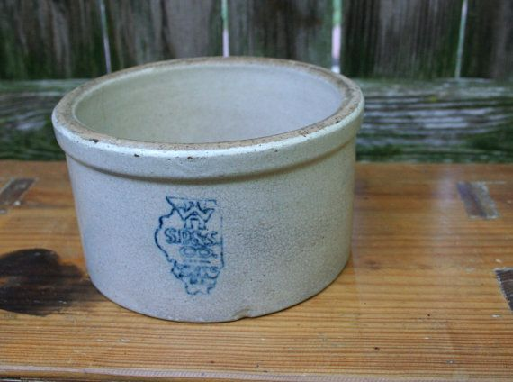 Sweet Collectible White Hall Illinois Small Butter Crock State