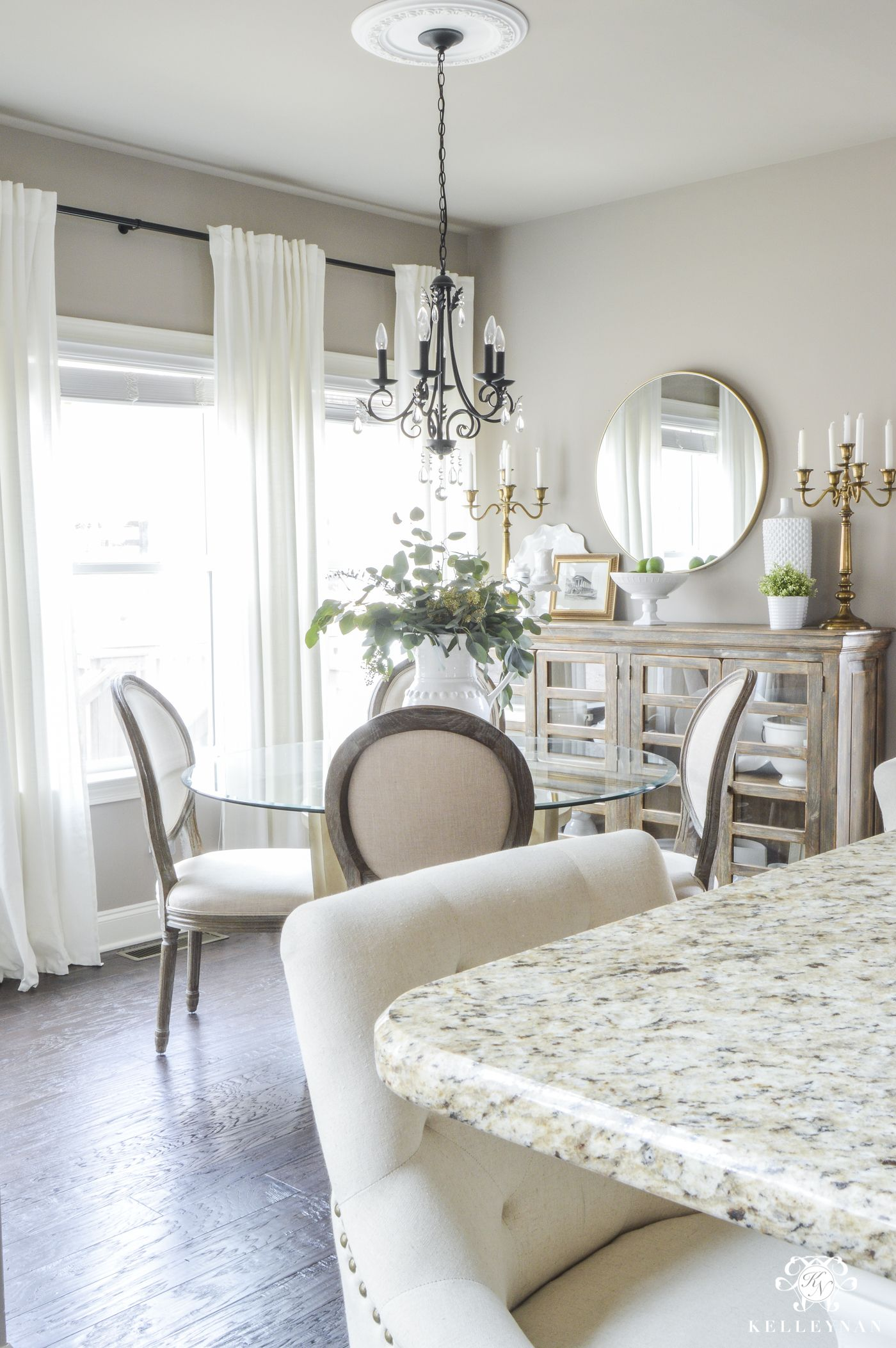 Updated Breakfast Nook A Lighter Brighter Look Kelley Nan Greige Living Room Greige Walls French Country Living Room