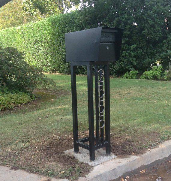 Mid Century Steel Mailbox Stand With Locking Mailbox Mailbox Stand Steel Mailbox