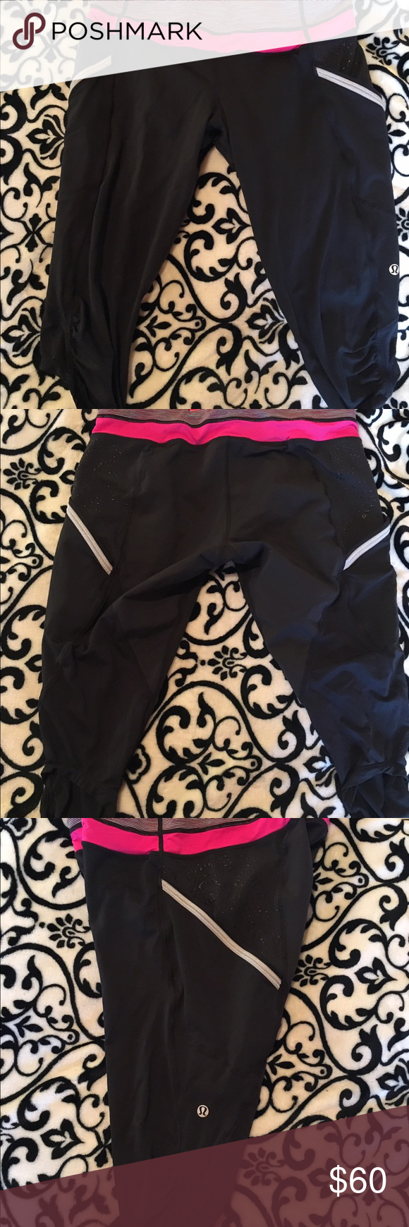 "Lululemon- crops size 6. Awesome active wear. These are fabulous active wear crops. Made by Lululemon. Size 6, crop fit. Inside tag has been removed but I am positive they are size 6.  Worn a handful of times. They have reflective specks on both legs and pockets for a phone, iPod etc....a zipper pocket on the back... I love the look but I prefer longer pants since I live where it is very cold. They measure from top of the waist to the bottom of the leg about 23"" laying flat on my bed…"