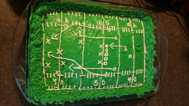 Football Cake - Field with play instructions.