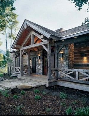 Rustic timber frame built by recycled materials home - Rustic home exterior color schemes ...