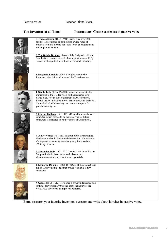 Top Inventors And Passive Voice Con Imagenes Fichas Ingles