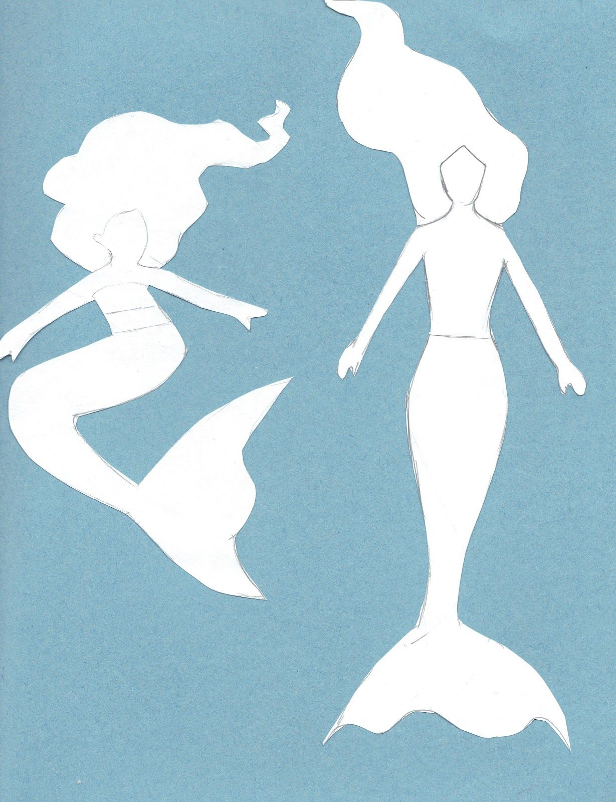 mermaid outline template | Sorry for the colored background but its ...