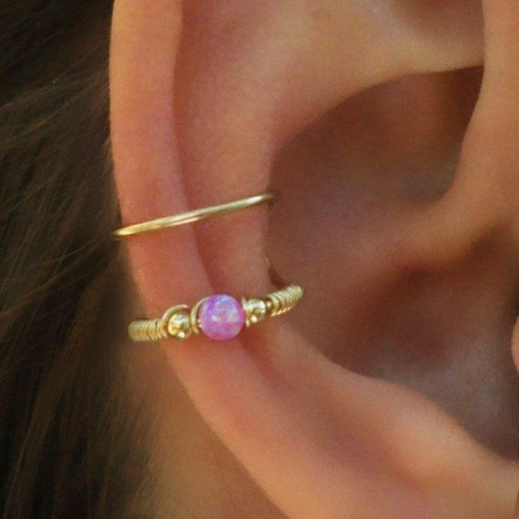Conch Earring Conch Ring Pink Opal Ear Cuff Ear Cuff Fake
