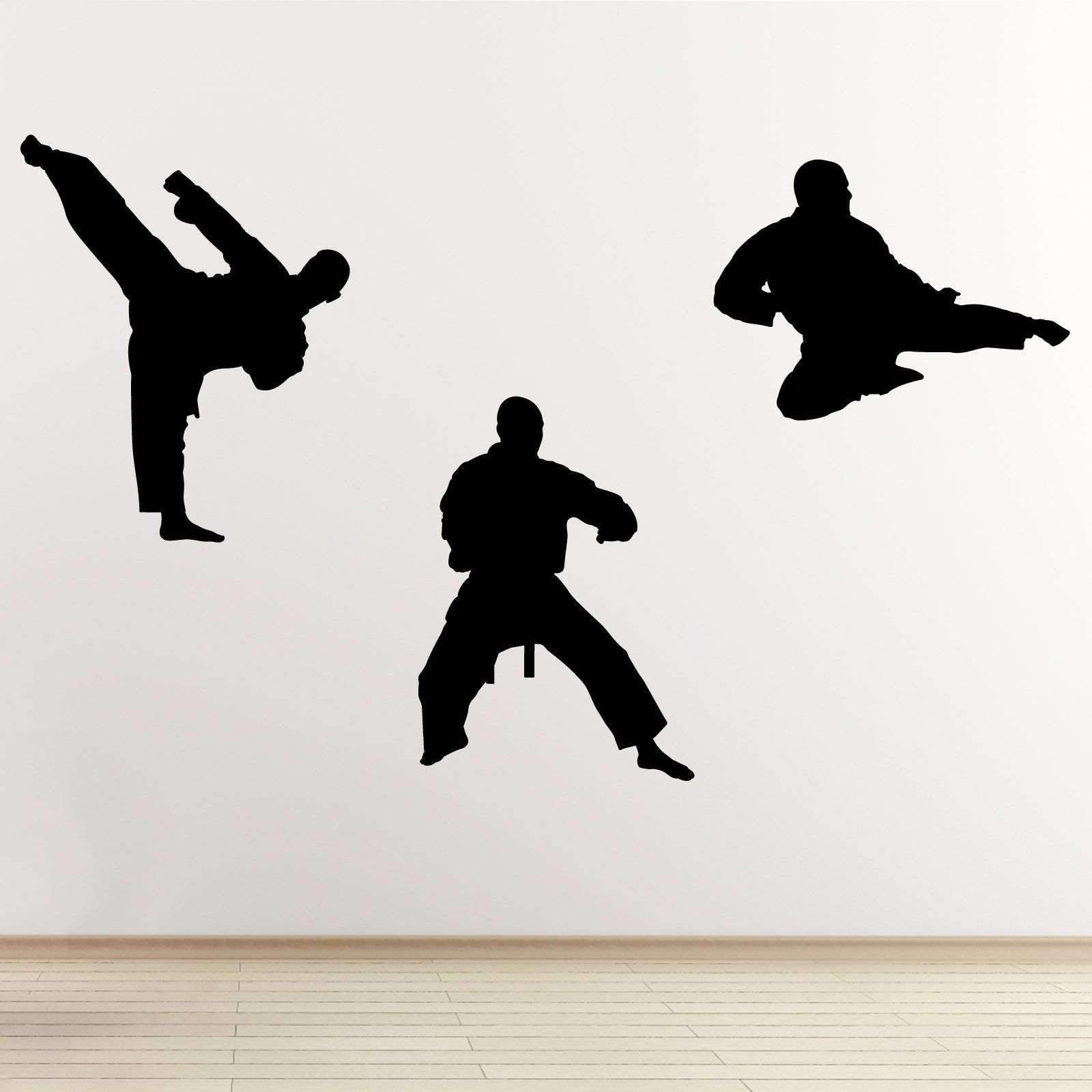 Martial Arts Wall Decal Pack Of 3 Karate Taekwondo Sports Action Stickers Martial Arts Decoration Silhouette Wall Art Art Wall