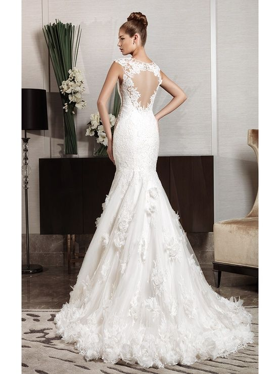 Wedding Cut Out Lace Back Fishtail Dress Intuzuri Bridal Collection
