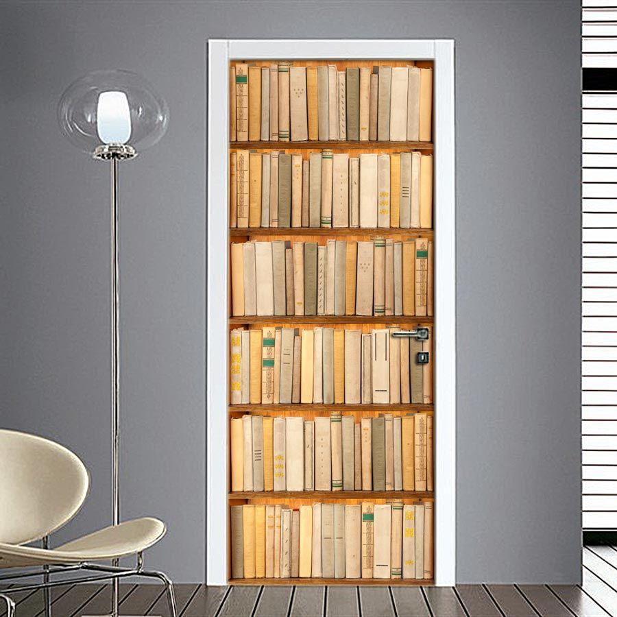 Libreria A Porta Di Roma adesivo per porta finta libreria | idee per decorare la casa