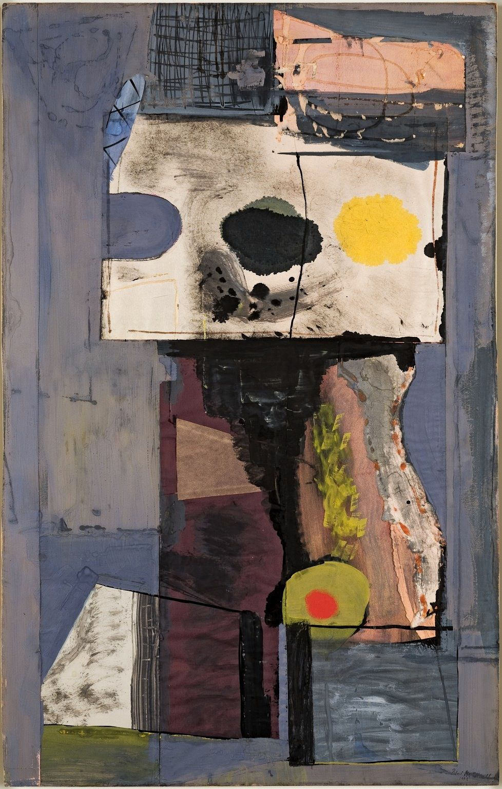 Robert Motherwell - Personage (Autoportrait), 1943. Gouache, ink, and Japanese paper collage on paperboard.