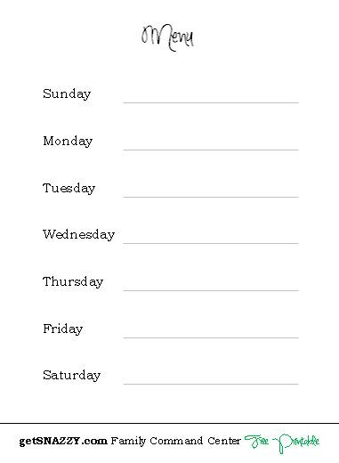 blank menu for meal planning kitchen command center free printable