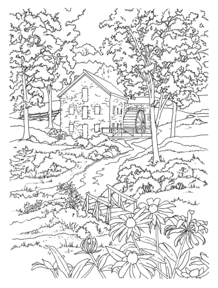 country scenes coloring book dover