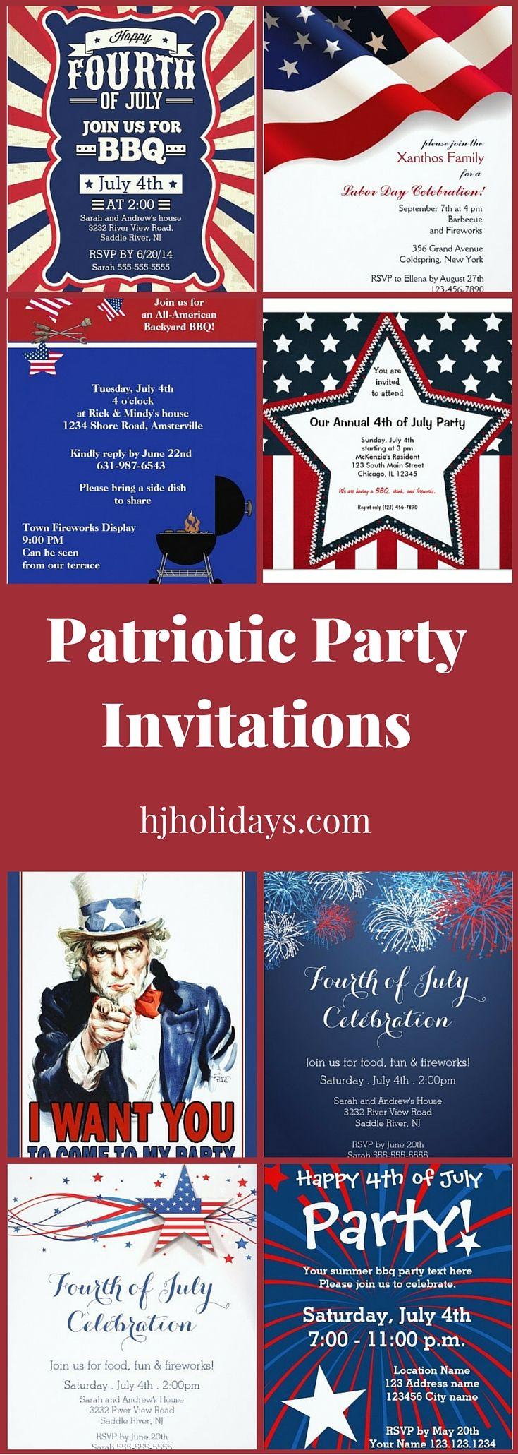 Patriotic Party Invitations   Patriotic☼   Pinterest   Patriotic ...
